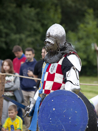 iron man: LIW, POLAND - September 13, 2016: Historical restoration of knightly fights on XV Knights tournament in LIW