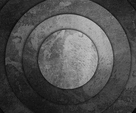 old metal: concentric round old metal plates Stock Photo