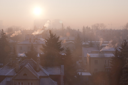 Smog in winter time in Warsaw, Poland