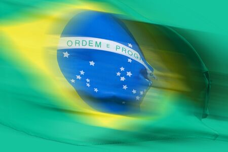 Waving brazilian flag for background Stock Photo