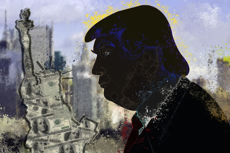 Donald Trump, president of USA and Statue of Liberty Editöryel