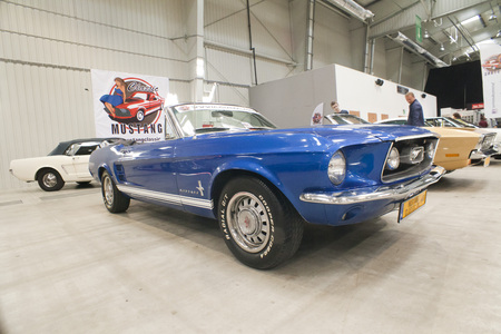 WARSAW, POLAND, May 13: Oldtimer Mustang car on Warsaw Auto Nostalgy fair on May 13, 2017 in Warsaw, Poland.