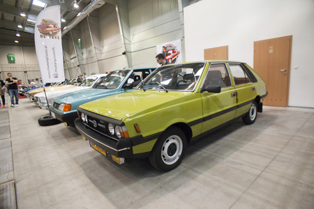 nostalgy: WARSAW, POLAND, May 13: Oldtimer Polonez car on Warsaw Auto Nostalgy fair on May 13, 2017 in Warsaw, Poland.