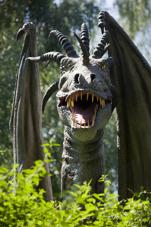 MOCISKA, POLAND - August 8: Dragon model in amusement part Farma iluzji, Poland on August 8th 2016