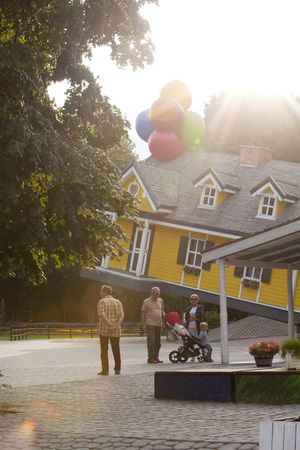 MOCISKA, POLAND - August 8: Flying house in amusement part Farma iluzji, Poland on August 8th 2016 Publikacyjne