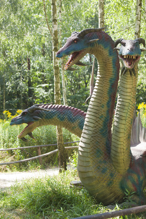 MOSCOW, POLAND - August 8: Dragon model in amusement part Farma iluzji, Poland on August 8th 2016
