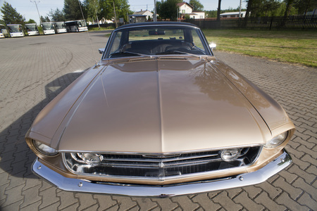 WARSAW, POLAND, May 13: Oldtimer Ford Mustang 302 on Warsaw Auto Nostalgy Fair on May 13, 2017 in Warsaw, Poland