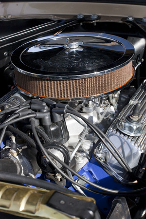nostalgy: WARSAW, POLAND, May 13: Engine of Oldtimer Ford Mustang 302 on Warsaw Auto Nostalgy fair on May 13, 2017 in Warsaw, Poland.