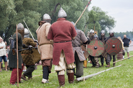 DROHICZYN, POLAND, July 8:  Medieval warriors during the fight on Vikings, Baltics and Slavic warriors meeting on July 8,  2017 in Drohiczyn, Poland.