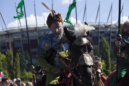 WARSAW, POLAND, July 6: Winged Hussars - Battle inscribed on Military Picnic July 6, 2017 in Warsaw, Poland.