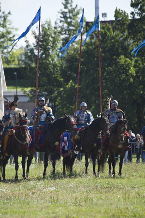reenacting: WARSAW, POLAND, July 6: Winged Hussars - Battle inscribed on Military Picnic July 6, 2017 in Warsaw, Poland.