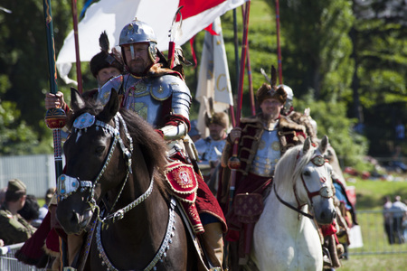 WARSAW, POLAND, July 6: Winged Hussars - Battle inscenisation on Military Picnic July 6, 2017 in Warsaw, Poland. Editorial