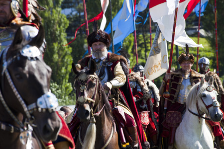 staging: WARSAW, POLAND, July 6: Winged Hussars - Battle inscenisation on Military Picnic July 6, 2017 in Warsaw, Poland. Editorial