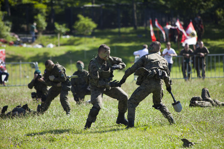 WARSAW, POLAND, July 6: Soldiers on battle inscenisation on Military Picnic July 6, 2017 in Warsaw, Poland.