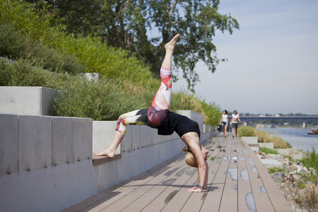 Woman doing outdoor workout in the city Stock Photo
