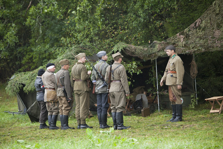 JERZYSKA, POLAND, August 20: Soldiers on World war the second battle inscenization August 20, 2017 in Jerzyska, Poland. Editorial