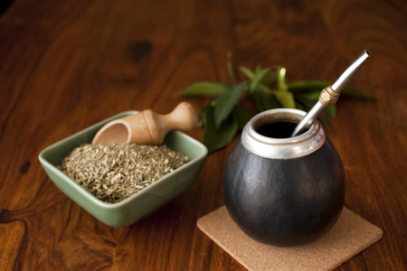 yerba mate in matero on a table Stock Photo - 92675571
