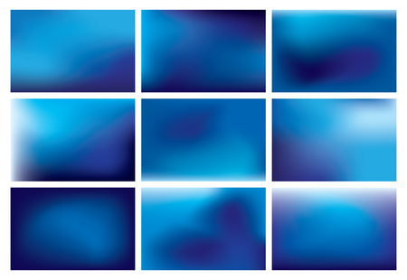 Collection of 15 colorful blurred abstract sky backgrounds vector images. Illustration