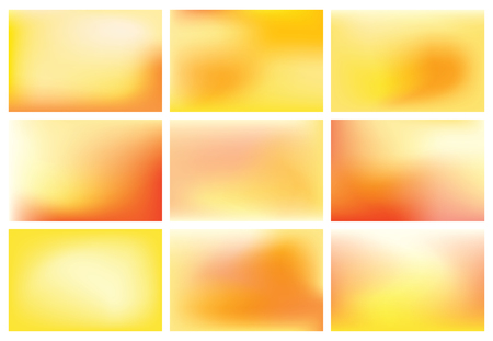 Collection of 9 colorful blurred abstract sunset backgrounds - vector images. Illustration