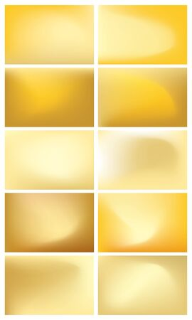Collection of 10 colorful blurred abstract golden backgrounds - vector images.