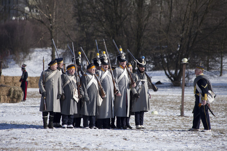 WARSAW, POLAND, Februar 24: Reenactors during annual reenactment of the Battle of Olszynka Grochowska 1831- a battle between Poland and Russia- on February 24, 2018 in Warsaw, Poland. Editorial