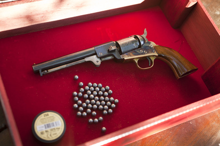 Old pistol during cleaning