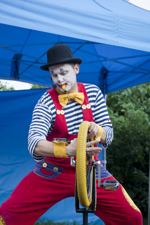 WARSAW, POLAND, June 4: Clown during outdoor performance on Kids Day- on June 4, 2018 in Warsaw, Poland.