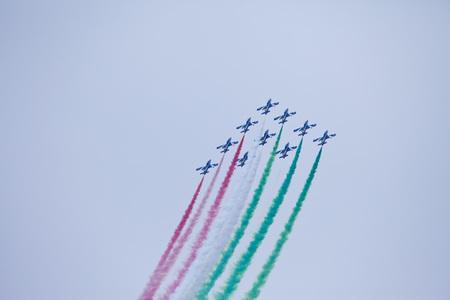 Radom, Poland- August 24, 2018: A group of aircrafts flies during air show