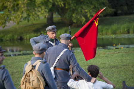 WARSAW, POLAND, September 15: Soldiers on World war the second battle inscenisation September 15, 2018 in Warsaw, Poland.