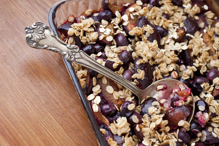 Organic Granola- baked oats with plums for breakfast
