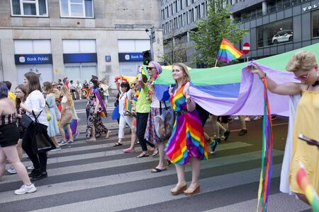 WARSAW, POLAND, July 8: People during Equality parade on July 8, 2019 in Warsaw, Poland