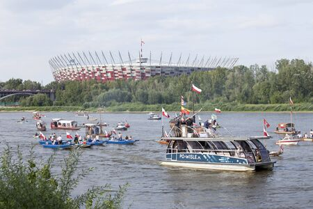WARSAW, POLAND, August 1: Boats on the river Vistula in Warsaw during the celebration of 75th anniversary of Warsaw Uprising on August 1, 2019 in Warsaw, Poland Sajtókép