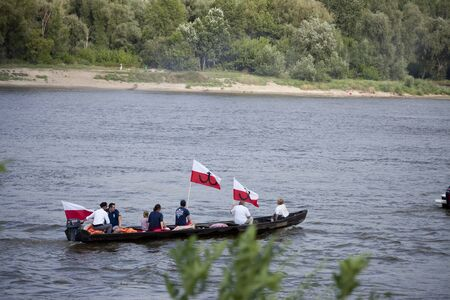 WARSAW, POLAND, August 1: Boats on the river Vistula in Warsaw during the celebration of 75th anniversary of Warsaw Uprising on August 1, 2019 in Warsaw, Poland Editöryel