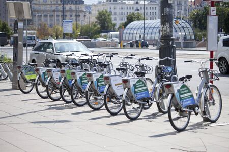 WARSAW, POLAND, August 1: City bikes ready for rent on August 1, 2019 in Warsaw, Poland.