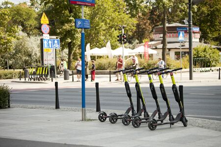 WARSAW, POLAND, August 1: City scooters ready for rent on August 1, 2019 in Warsaw, Poland. Editorial