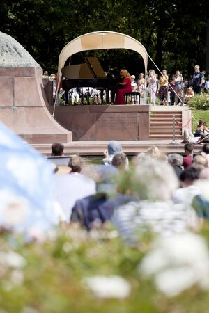 Warsaw, Poland. 4 August 2019,- Outdoor open recital of Chopin's music- The oldest Polish recital which takes place in Lazienki Park every Sunday in the summertime in Warsaw, Poland.