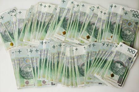 Lots of polish currency money zloty PLN