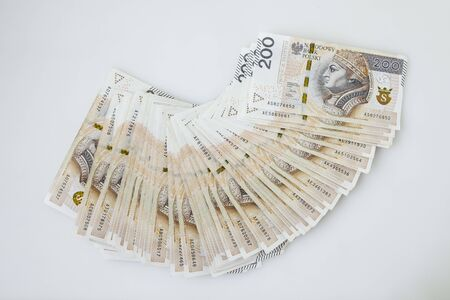 Lots of polish currency money zloty Stock Photo