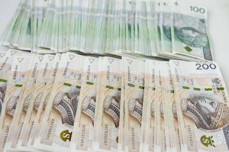 Lots of polish currency money zloty Stok Fotoğraf