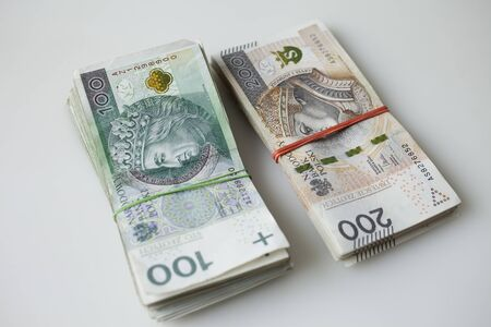 Lots of polish currency money zloty