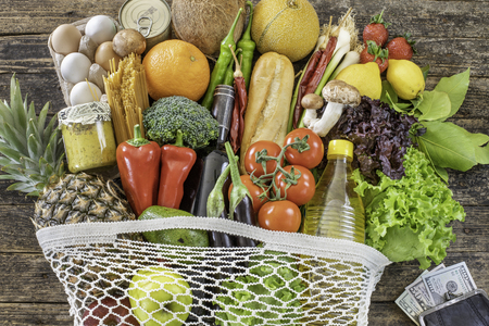 Fresh vegetables and fruits and dollars