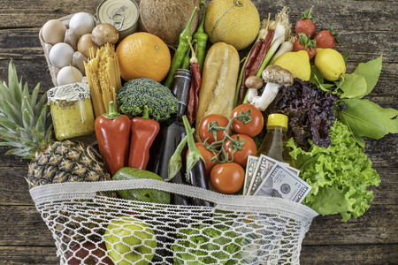 Many vegetables and fruits in a bag