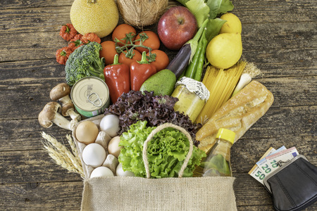 Fruits and vegetables with European Union currency