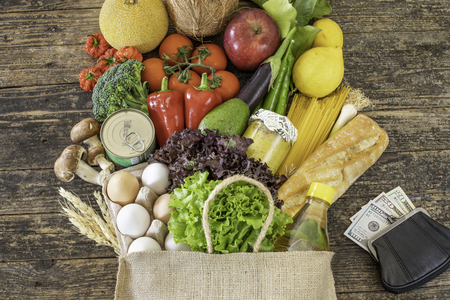 Many fresh vegetables and fruits in a bag