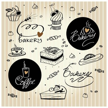 Set of vector logos and illustrations on the theme of baking, sweets and coffee
