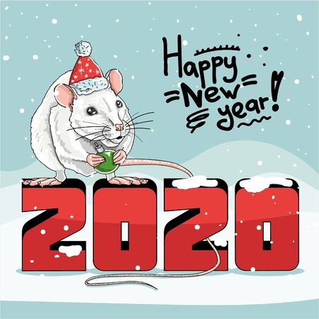 Happy new year greeting card with a cute white rat on a background of falling snow Illustration