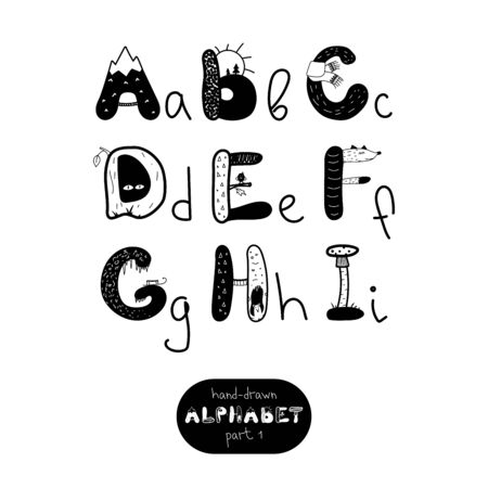 Hand drawn letters. Vector hand drawn alphabet in scandinavian style. Part 1.