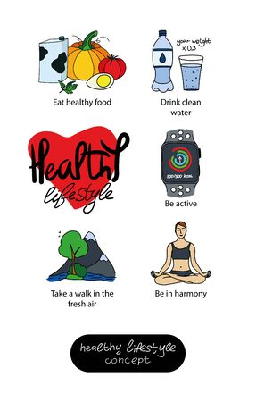 Set of vector icons on the theme of a healthy lifestyle: healthy food, clear water, activity, walks in nature, harmony. Color icons