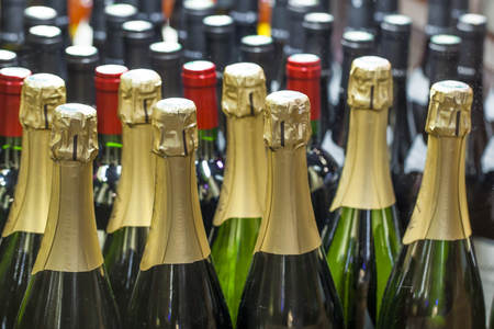 bubbly: group of bubbly wine bottles at the winery