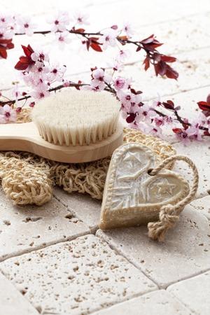 exfoliation: washing up with soft exfoliation and massage Stock Photo
